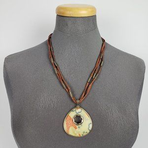 Monet Yellow & Brown Cord Necklace